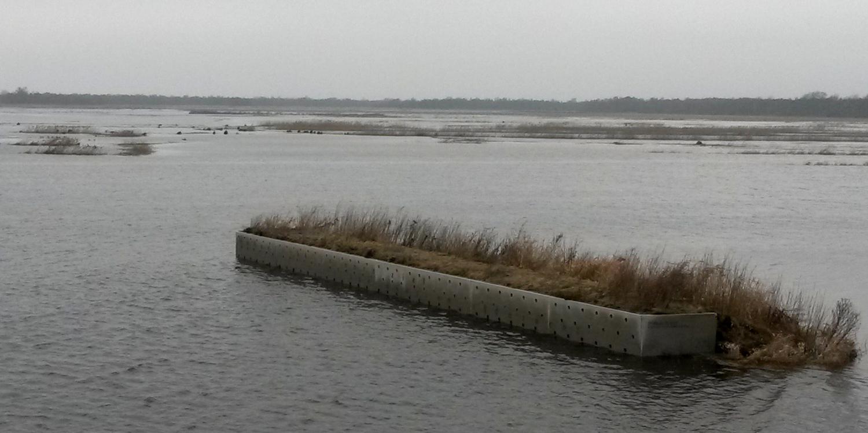 Test 2017 waterberging Wetering Oost - Oeverzwaluwwand voor deel onder water